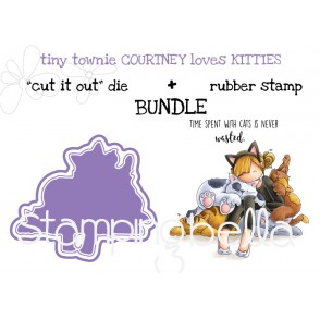 "tiny townie COURTNEY loves KITTIES RUBBER STAMP + ""CUT IT OUT"" DIE BUNDLE (save 15%)"