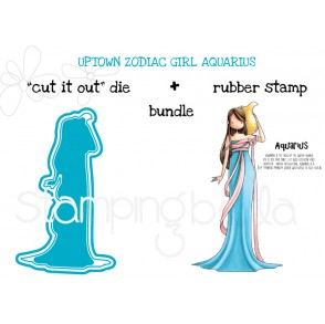 "UPTOWN ZODIAC GIRL AQUARIUS RUBBER STAMP + ""CUT IT OUT"" BUNDLE (SAVE 15%!)"
