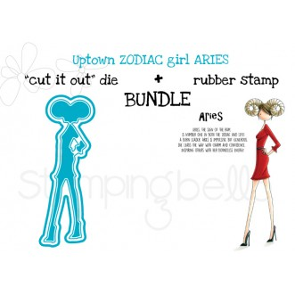 "UPTOWN ZODIAC GIRL ARIES rubber stamp + ""CUT IT OUT"" die BUNDLE (save 15%)"