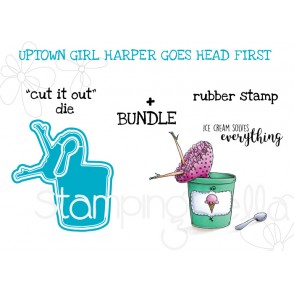"UPTOWN GIRL HARPER RUBBER STAMP + ""CUT IT OUT"" DIE BUNDLE"