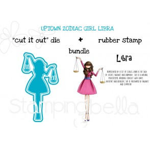 "UPTOWN ZODIAC GIRL LIBRA RUBBER STAMP + ""CUT IT OUT"" DIE BUNDLE (save 15%)"