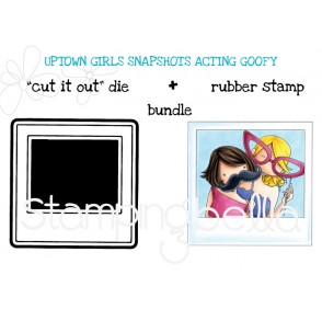 "UPTOWN GIRLS SNAPSHOTS ACTING GOOFY + POLAROID RUBBER STAMP +""CUT IT OUT"" DIE BUNDLE"