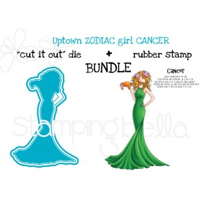 "UPTOWN ZODIAC GIRL CANCER rubber stamp + ""CUT IT OUT"" die BUNDLE (save 15%)"