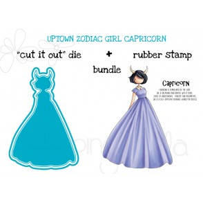 "UPTOWN ZODIAC GIRL CAPRICORN rubber stamp + ""CUT IT OUT"" die BUNDLE (save 15%)"