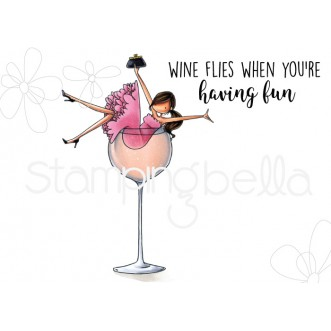 UPTOWN GIRL WILMA LOVES WINE RUBBER STAMP