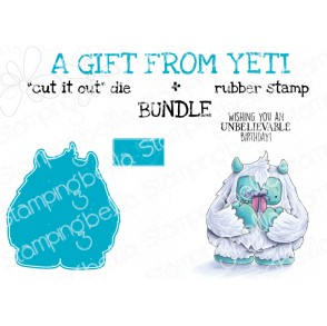 "A GIFT FROM YETI RUBBER STAMP + ""CUT IT OUT"" die BUNDLE (save 15%)"