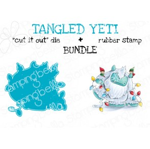 "TANGLED YETI RUBBER STAMP + ""CUT IT OUT"" DIE BUNDLE (save 15%)"