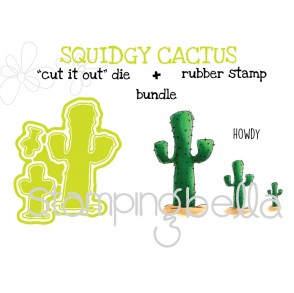 """squidgy CACTUS RUBBER STAMP + """"CUT IT OUT"""" DIE BUNDLE (save 15%)"""