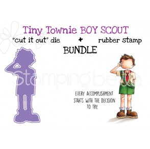 "TINY TOWNIE BOY SCOUT rubber stamp + ""CUT IT OUT"" die bundle (save 15%)"