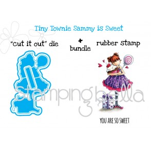"tiny townie SAMMY IS SWEET ""CUT IT OUT DIE"" + RUBBER STAMP BUNDLE ( 15% off when purchased togeher)"