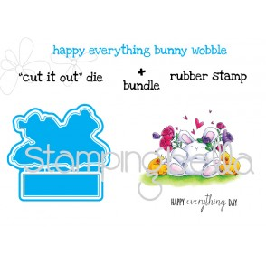 """HAPPY EVERYTHING bunny wobble """"CUT IT OUT"""" DIE + RUBBER STAMP BUNDLE (save 15% when purchased together)"""