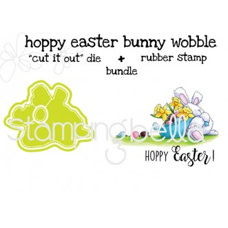"""hoppy EASTER BUNNY WOBBLE RUBBER STAMP + """"CUT IT OUT"""" BUNDLE (SAVE 15%)"""