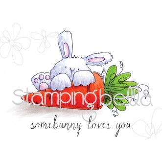 somebunny LOVES YOU bunny wobble RUBBER STAMP (set of 2 stamps)